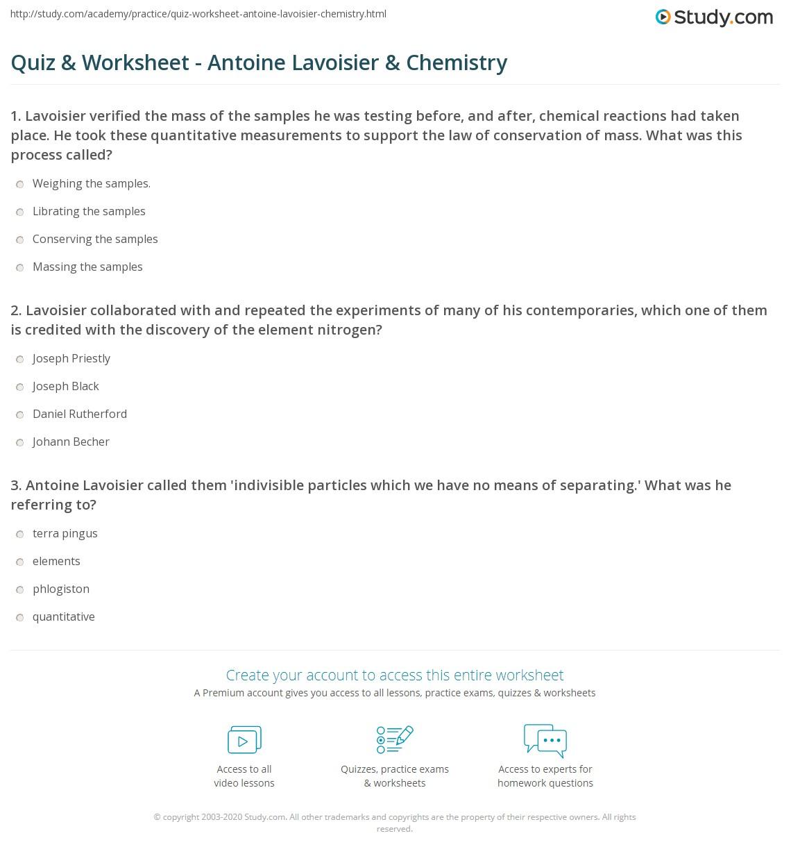Quiz Worksheet Antoine Lavoisier Chemistry Study