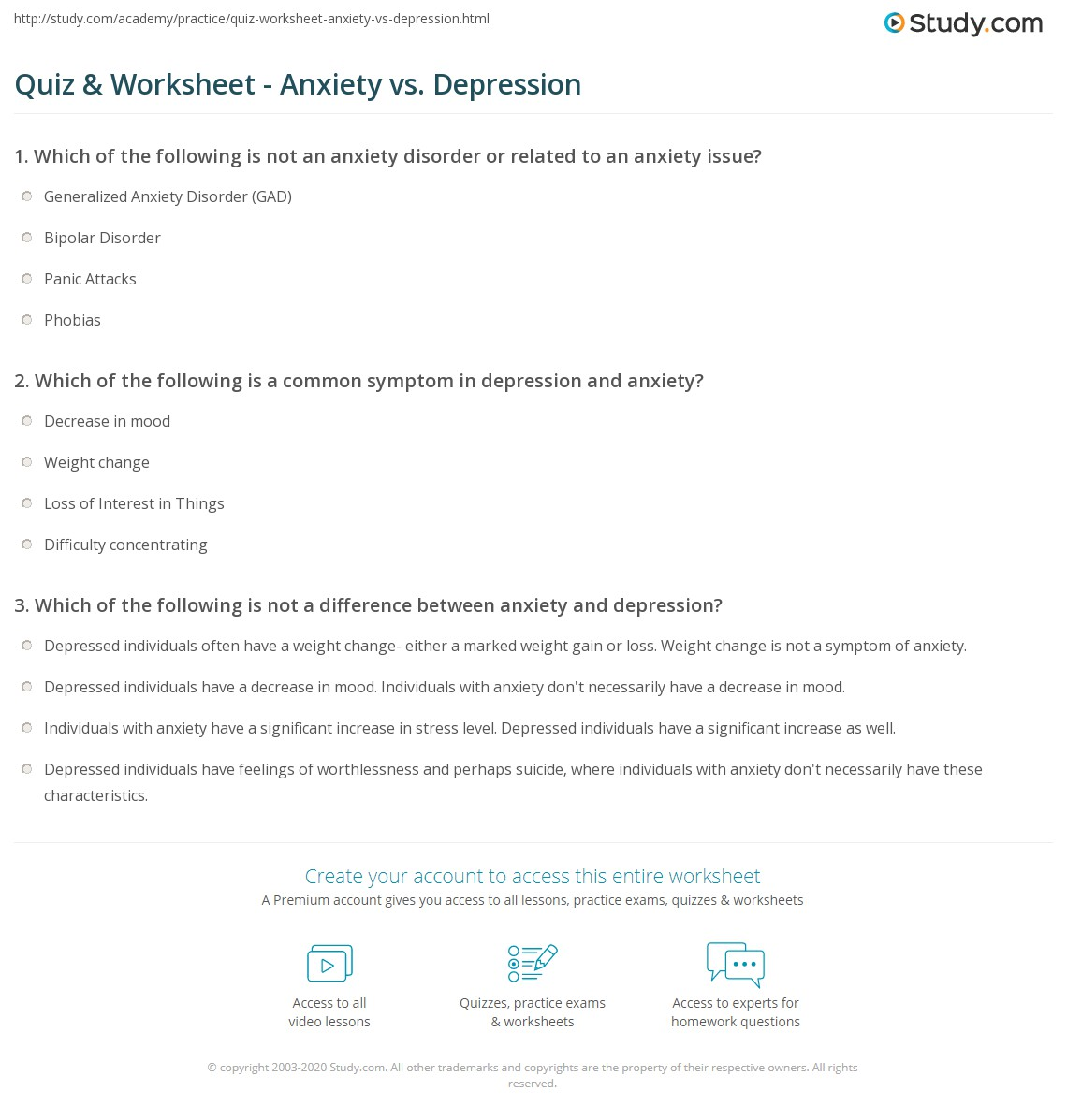 Quiz & Worksheet - Anxiety vs. Depression | Study.com