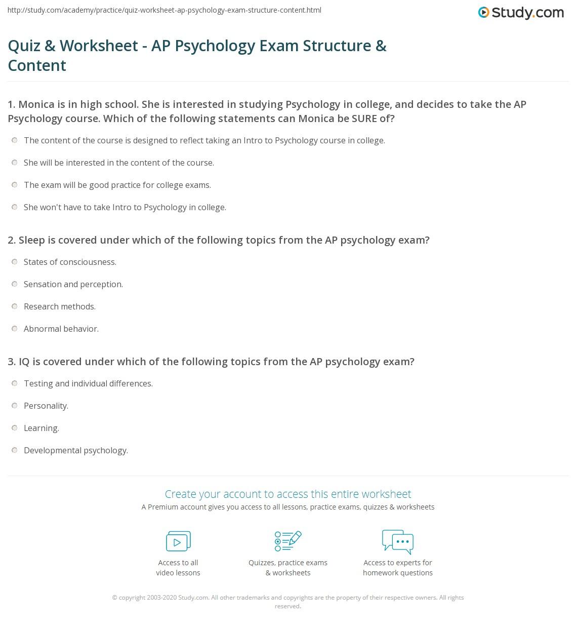 Workbooks psychology worksheets : Quiz & Worksheet - AP Psychology Exam Structure & Content | Study.com