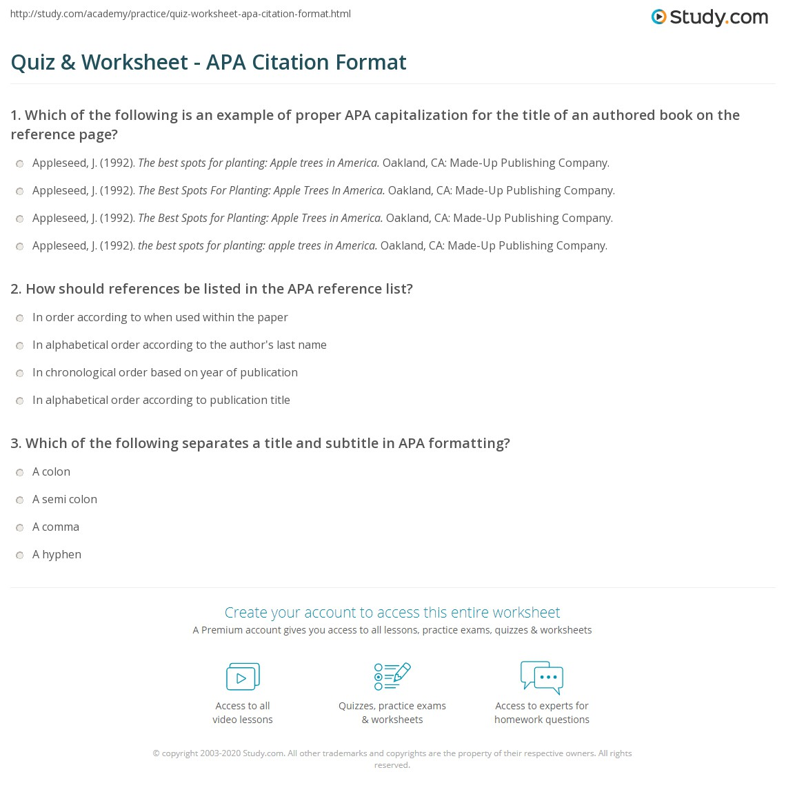 Quiz worksheet apa citation format study print how to format apa citations worksheet ccuart Images