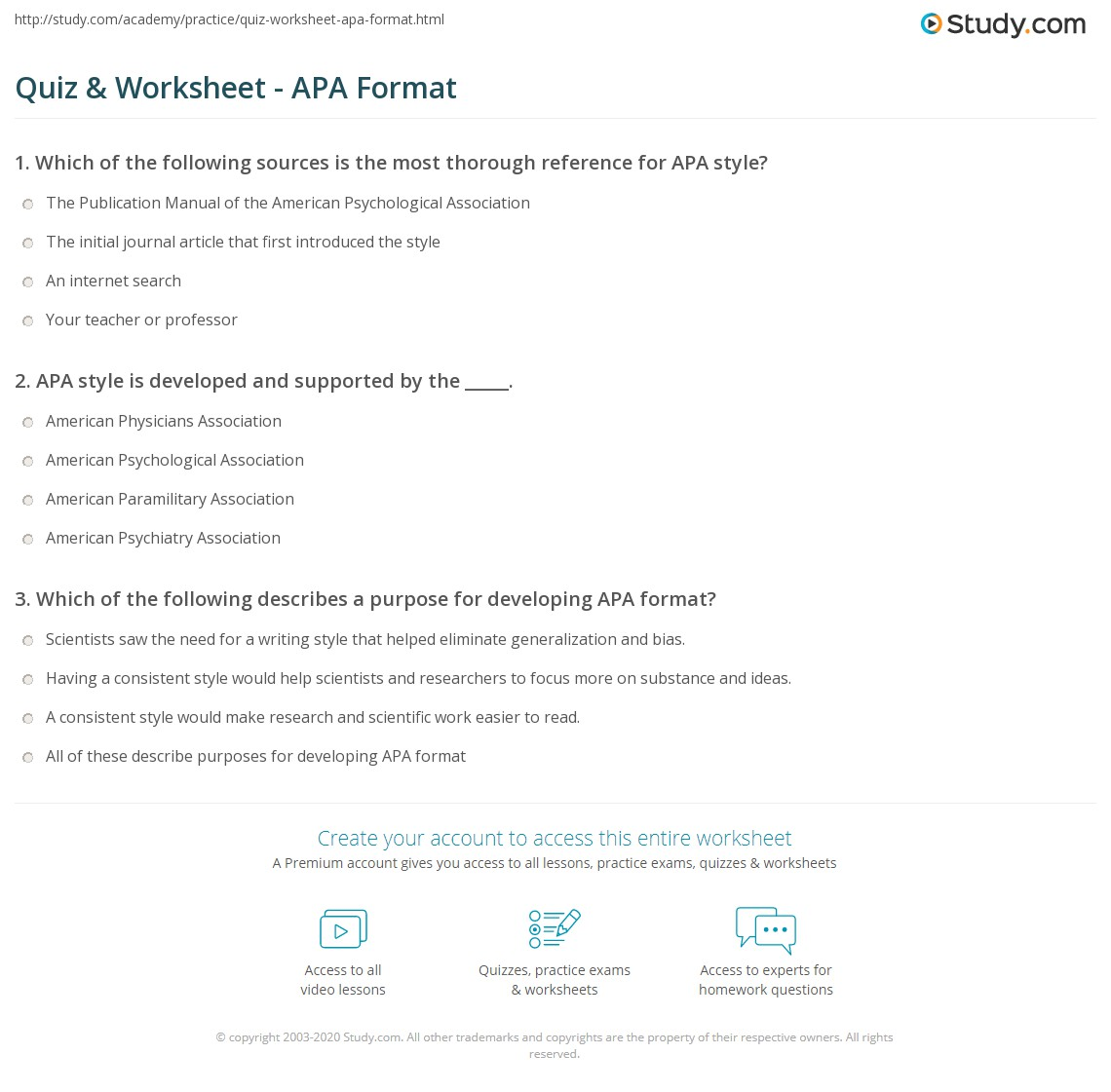 quiz worksheet apa format study com