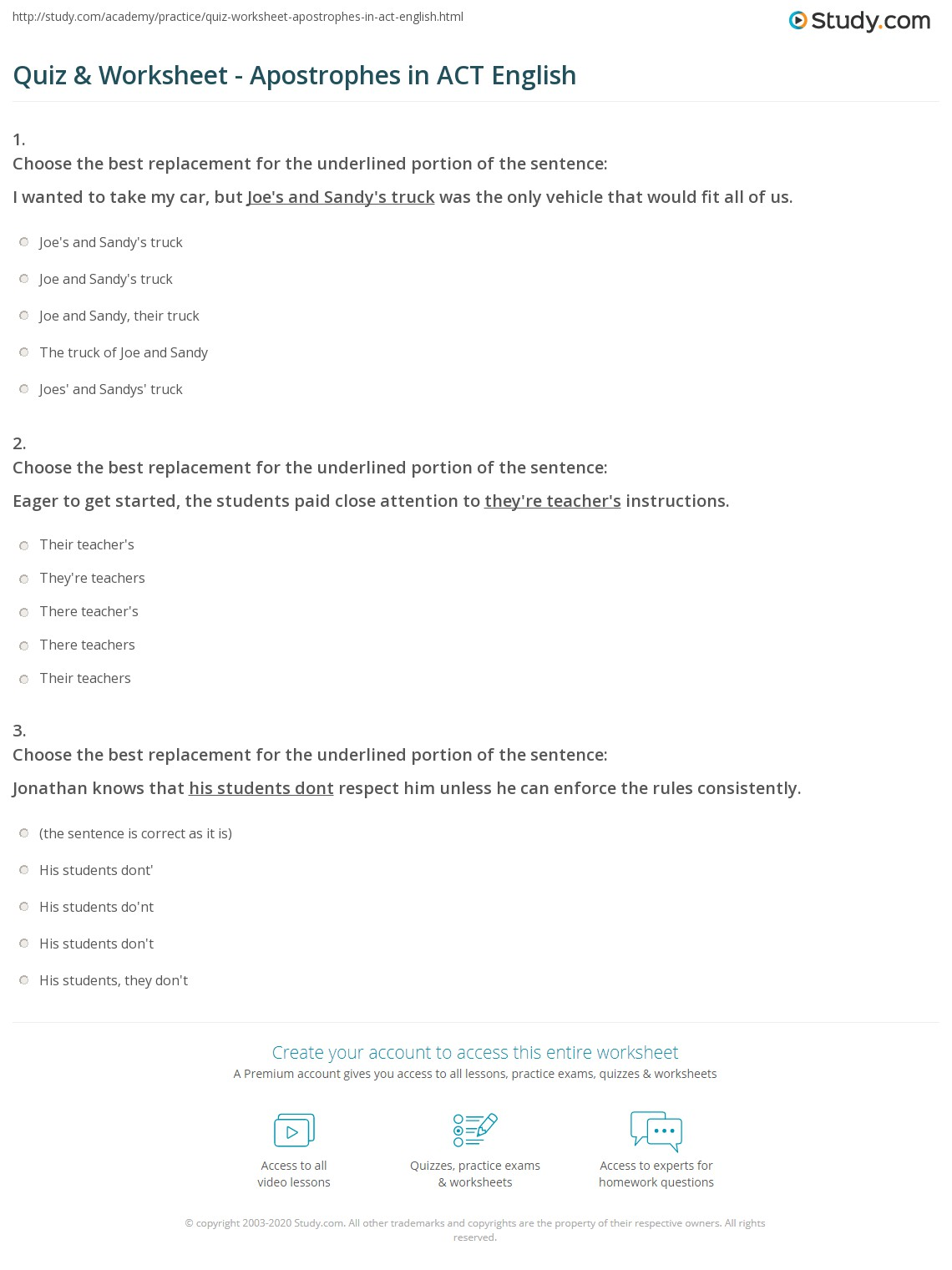 Print Act English Practice Apostrophes Worksheet
