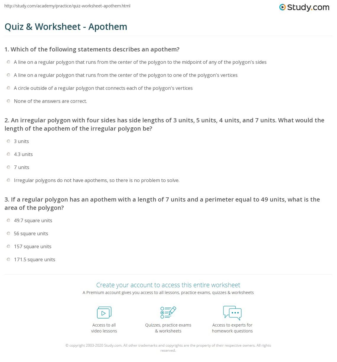 worksheet Area Of Polygons Worksheets quiz worksheet apothem study com print definition formula worksheet