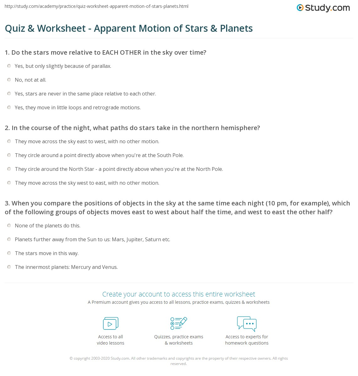 Quiz & Worksheet - Apparent Motion of Stars & Planets ...
