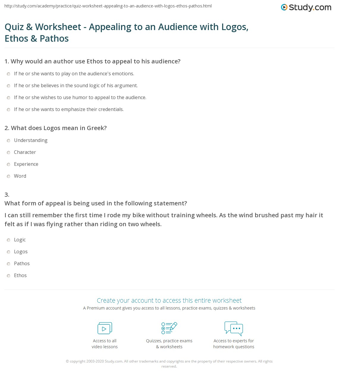 quiz worksheet appealing to an audience logos ethos  print logos ethos and pathos 3 ways to appeal to an audience in essays worksheet