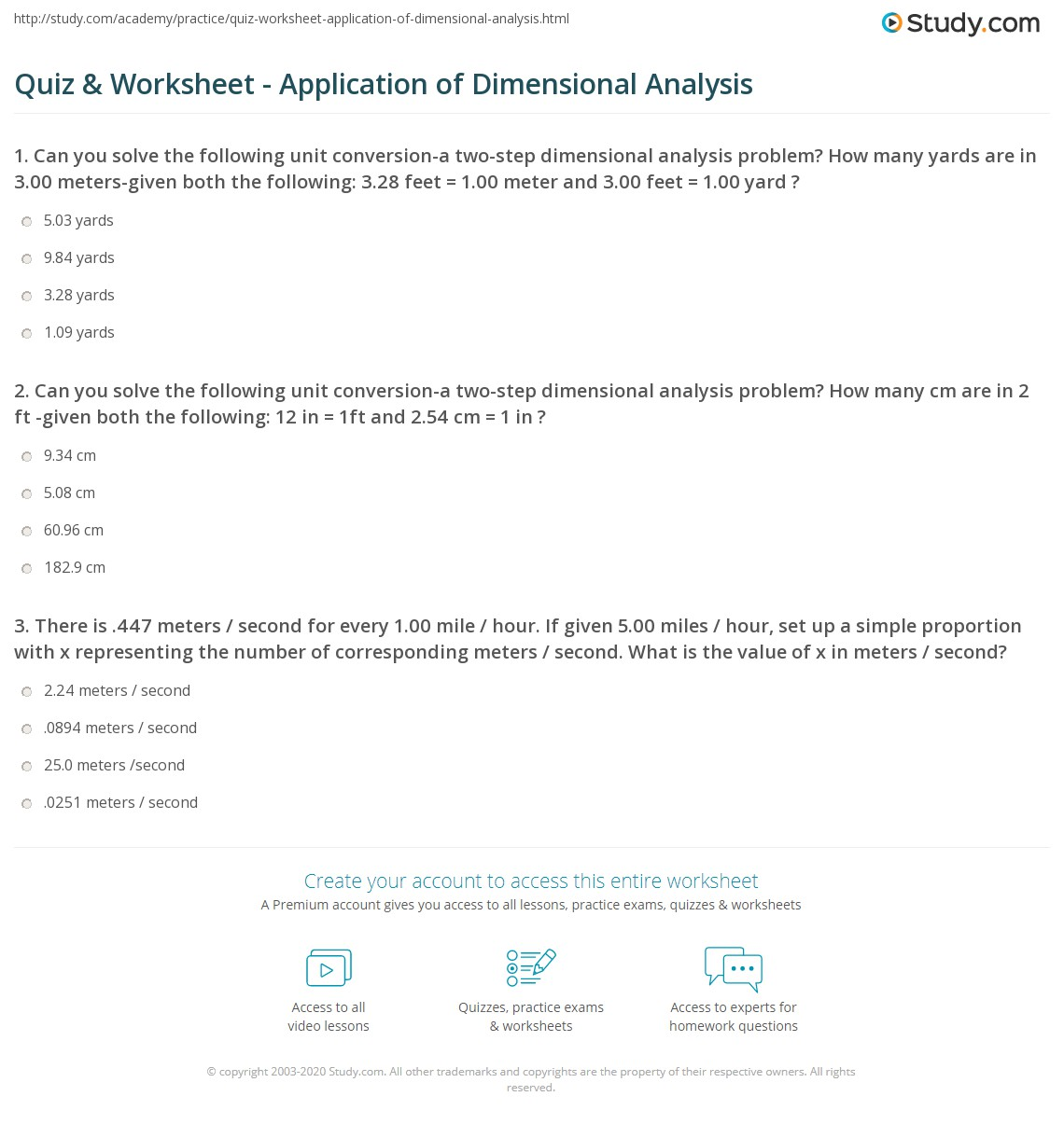 Quiz Worksheet Application Of Dimensional Analysis Study
