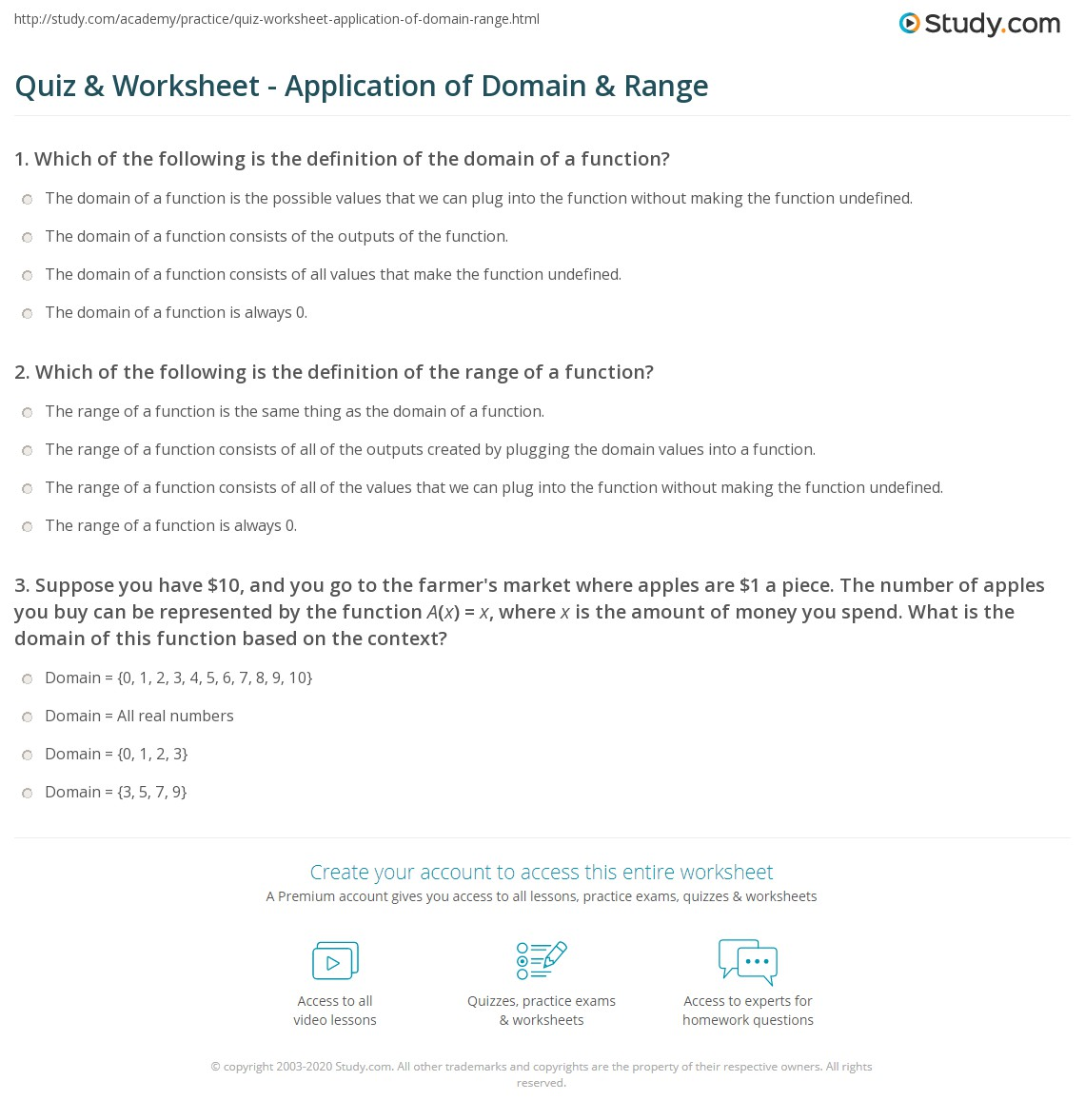 Quiz Worksheet Application Of Domain Range Study
