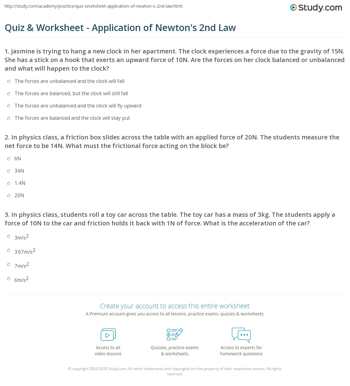 Quiz & Worksheet - Application of Newton's 2nd Law | Study.com