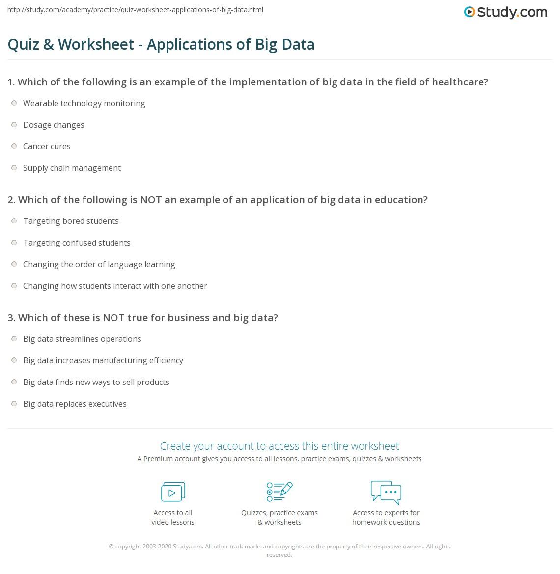 quiz worksheet applications of big data. Black Bedroom Furniture Sets. Home Design Ideas