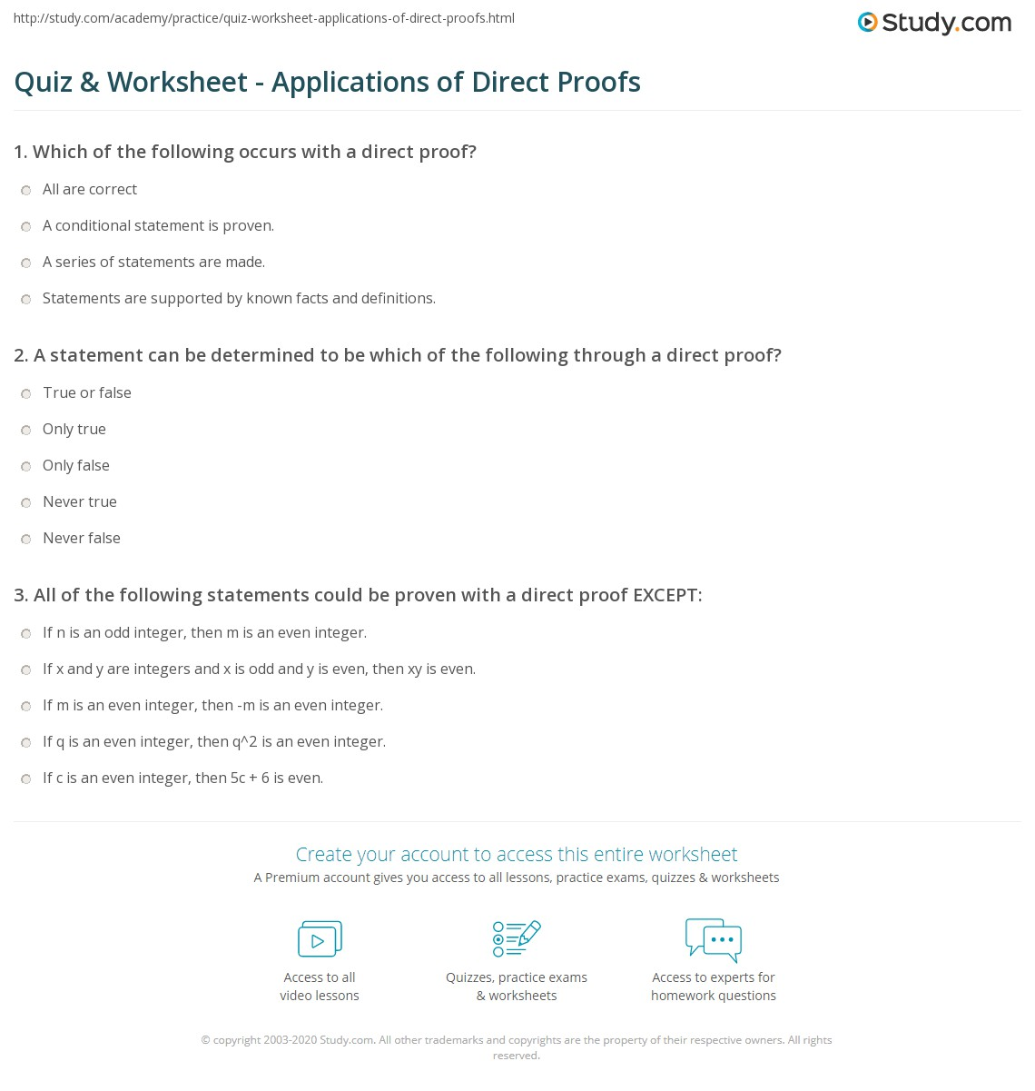 Print Direct Proofs: Definition and Applications Worksheet