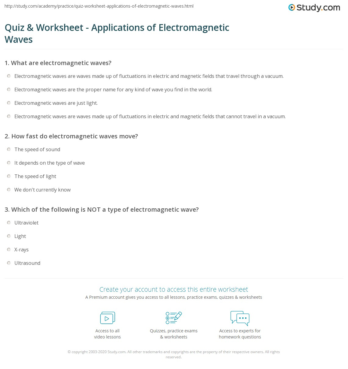 Quiz Worksheet Applications of Electromagnetic Waves – Waves and Electromagnetic Spectrum Worksheet