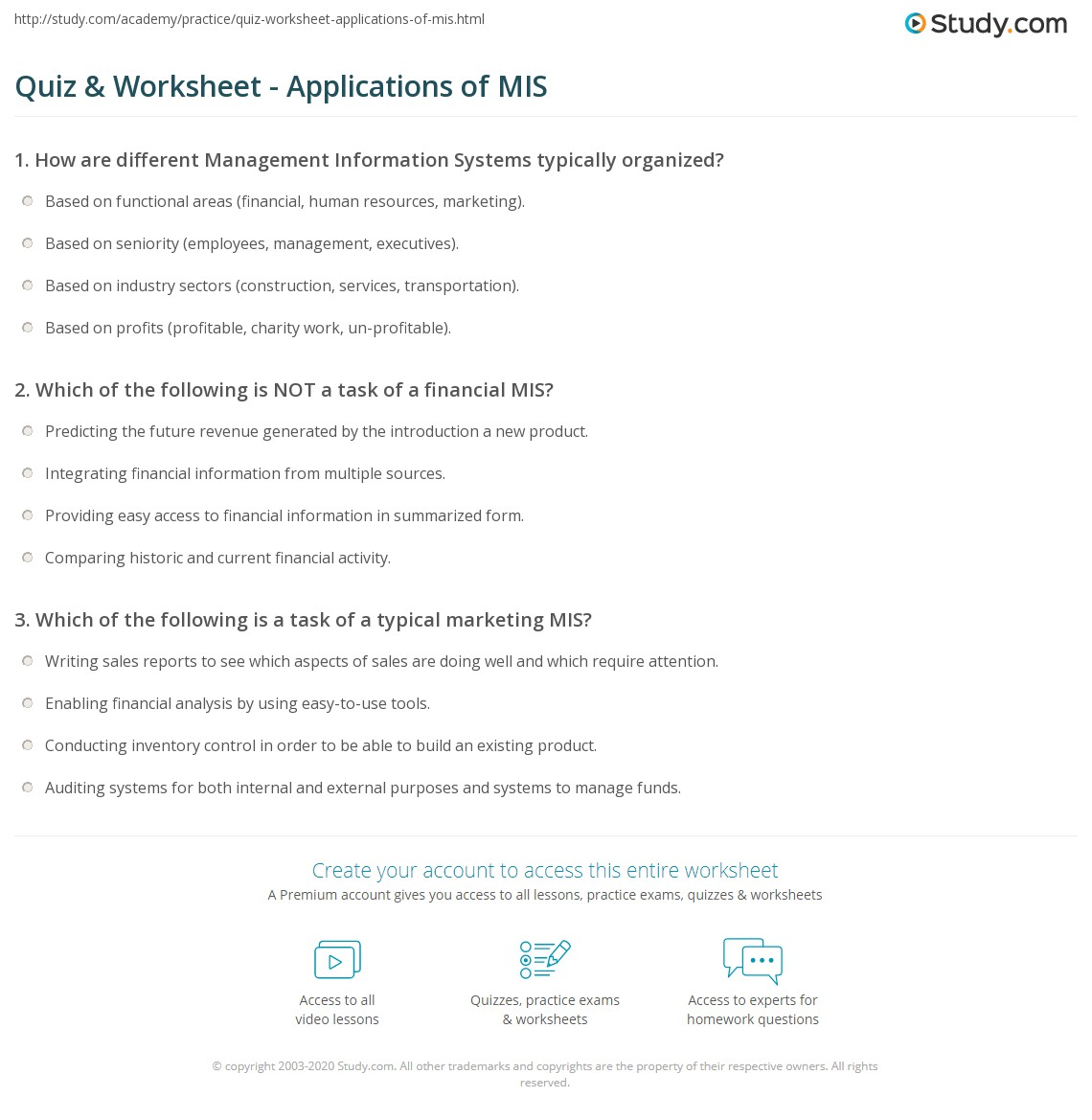 Quiz Worksheet Applications Of Mis Study