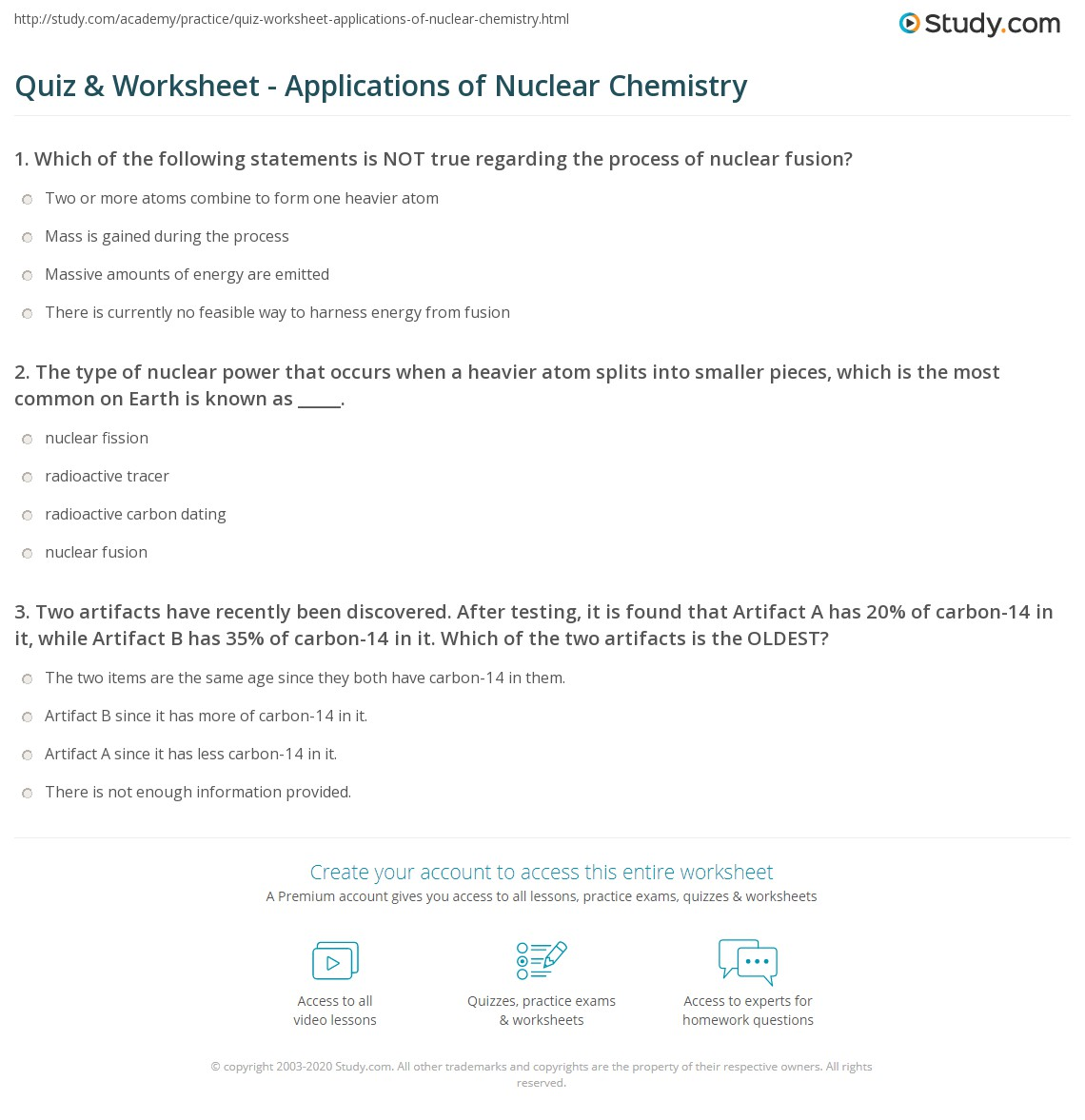 Quiz & Worksheet - Applications of Nuclear Chemistry | Study.com