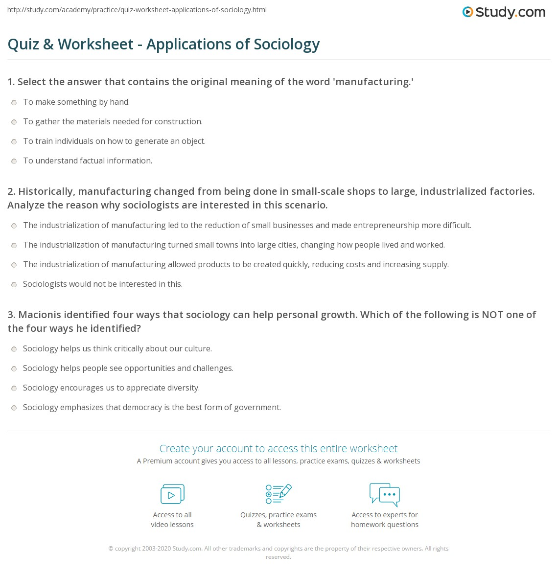 quiz worksheet applications of sociology. Black Bedroom Furniture Sets. Home Design Ideas