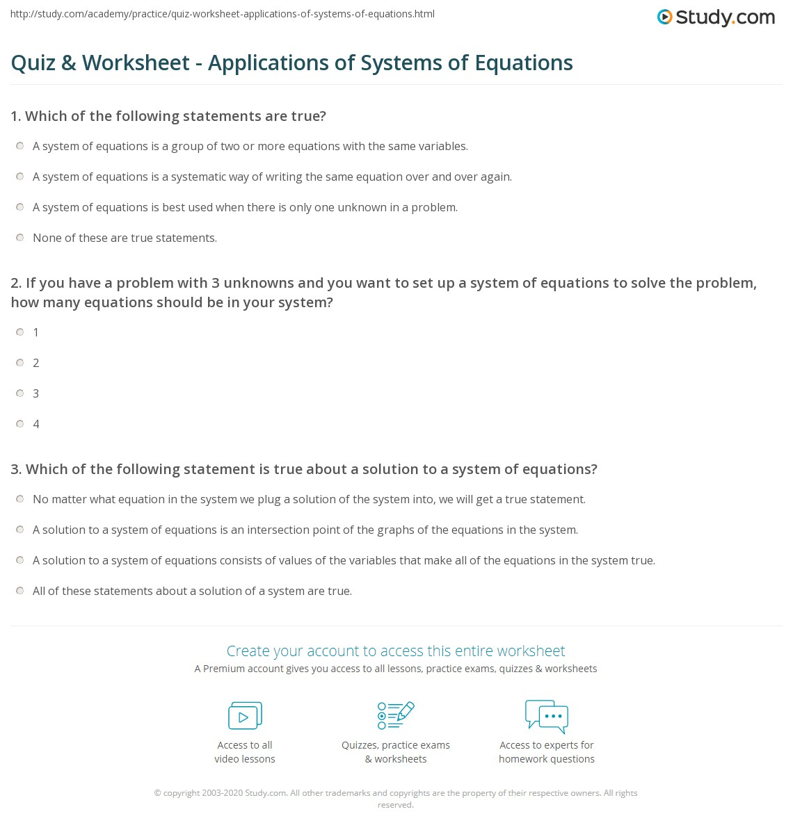 Quiz Worksheet Applications Of Systems Of Equations Study Com
