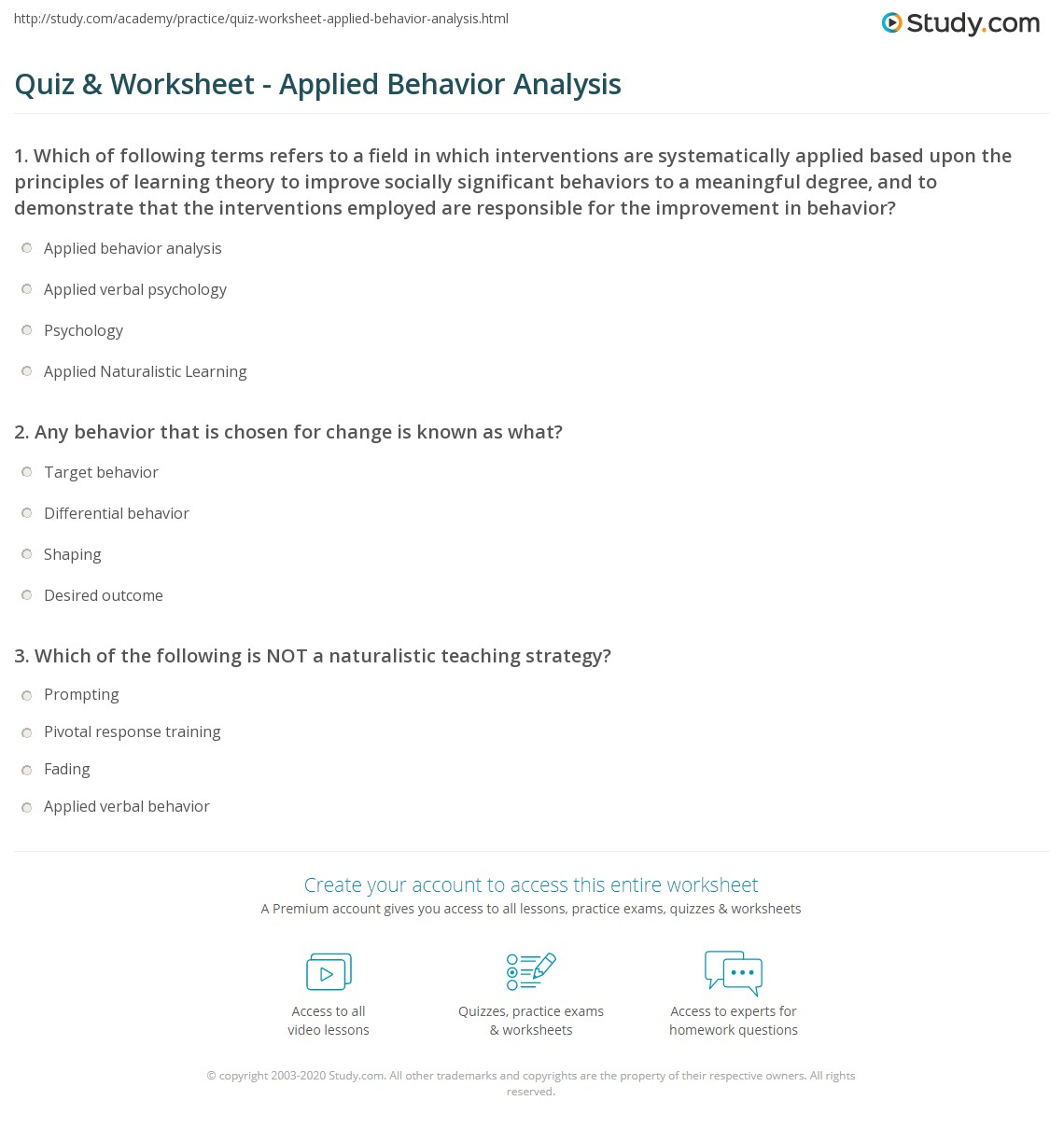 Print Applied Behavior Analysis: Definition U0026 Techniques Worksheet