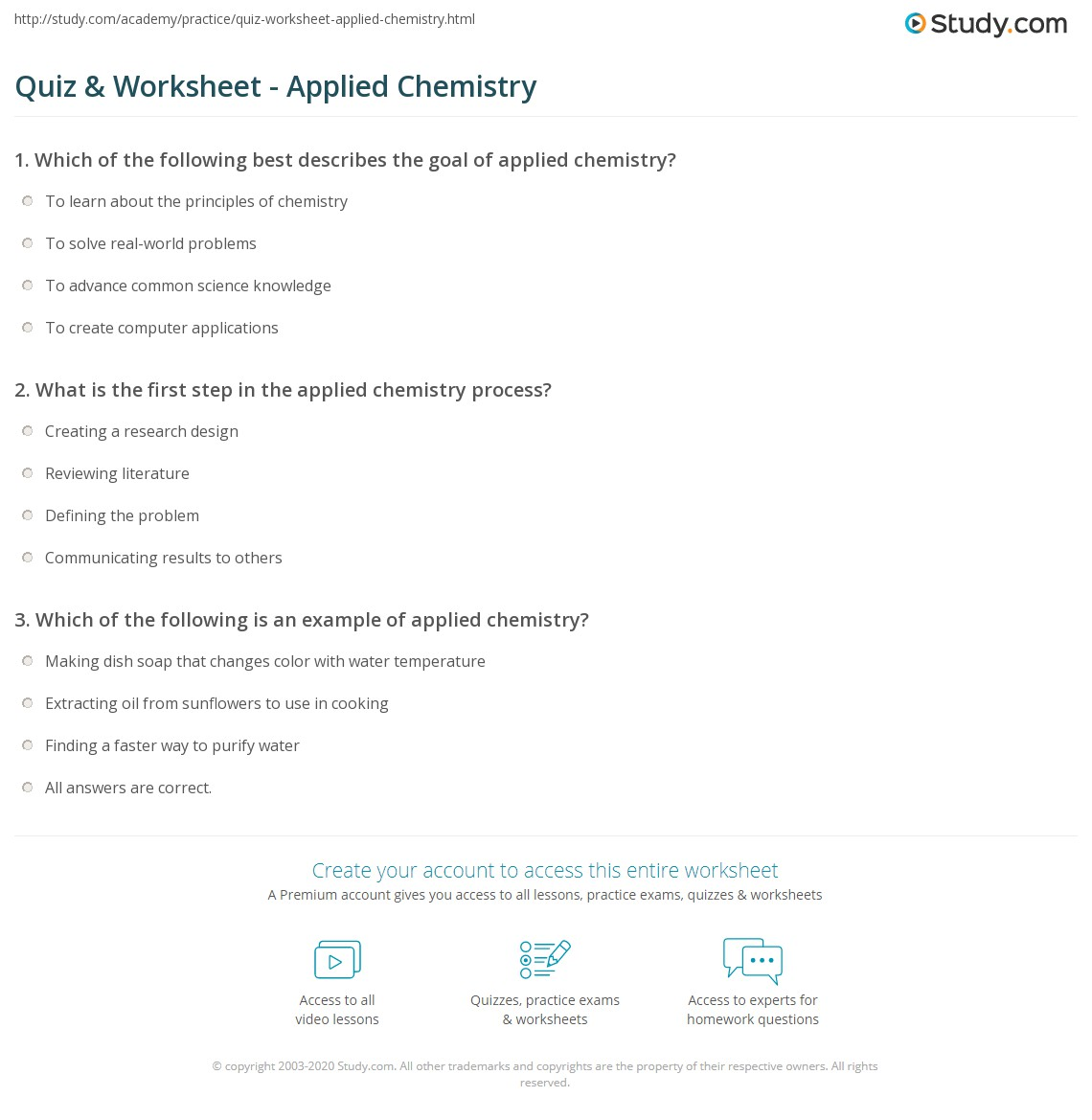 Quiz & Worksheet - Applied Chemistry | Study com