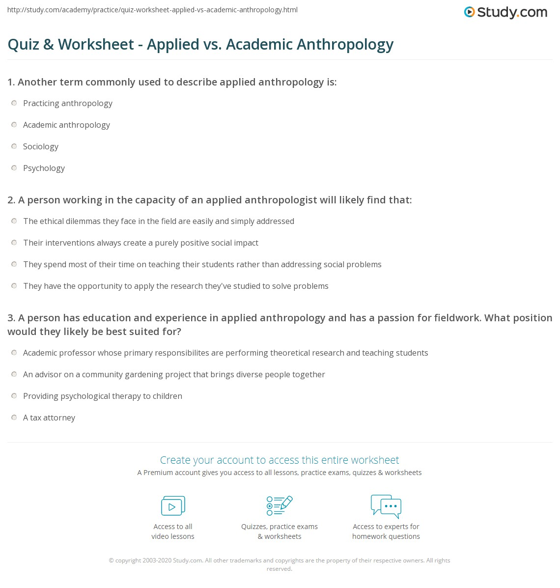Quiz & Worksheet - Applied vs. Academic Anthropology | Study.com