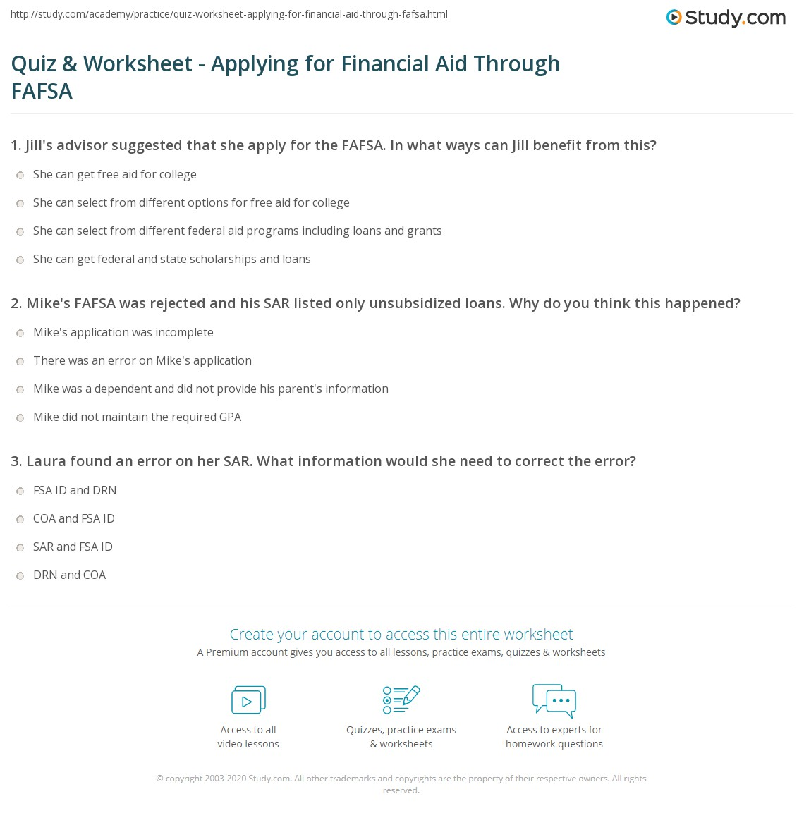 Financial aid worksheets for highschool students
