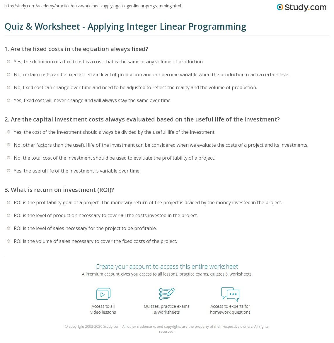 Quiz and Worksheet Applying Integer Linear Programming – Linear Programming Worksheet