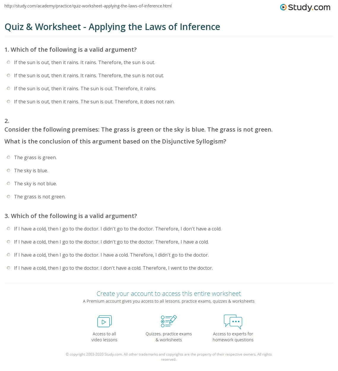 quiz worksheet applying the laws of inference. Black Bedroom Furniture Sets. Home Design Ideas