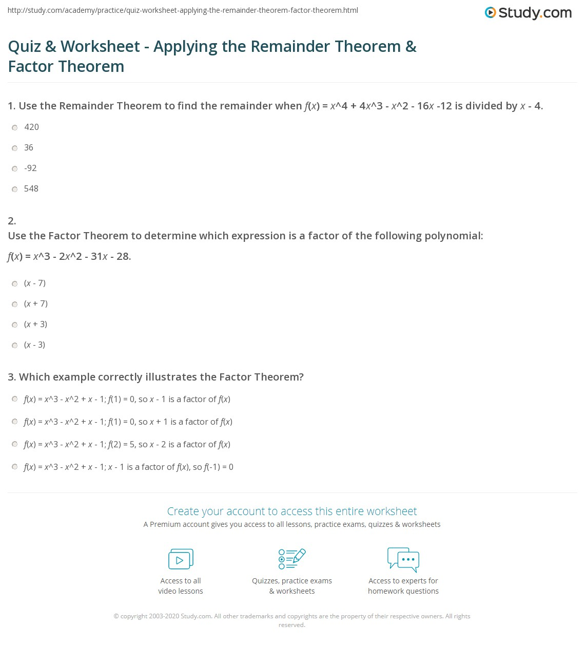 Quiz Worksheet Applying The Remainder Theorem Factor Theorem
