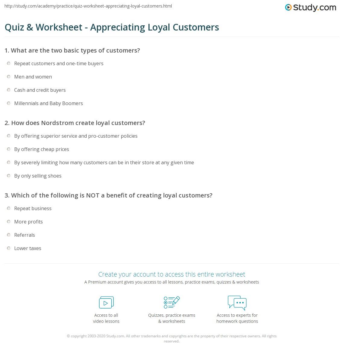 Quiz worksheet appreciating loyal customers study print showing appreciation to loyal customers worksheet yelopaper Gallery