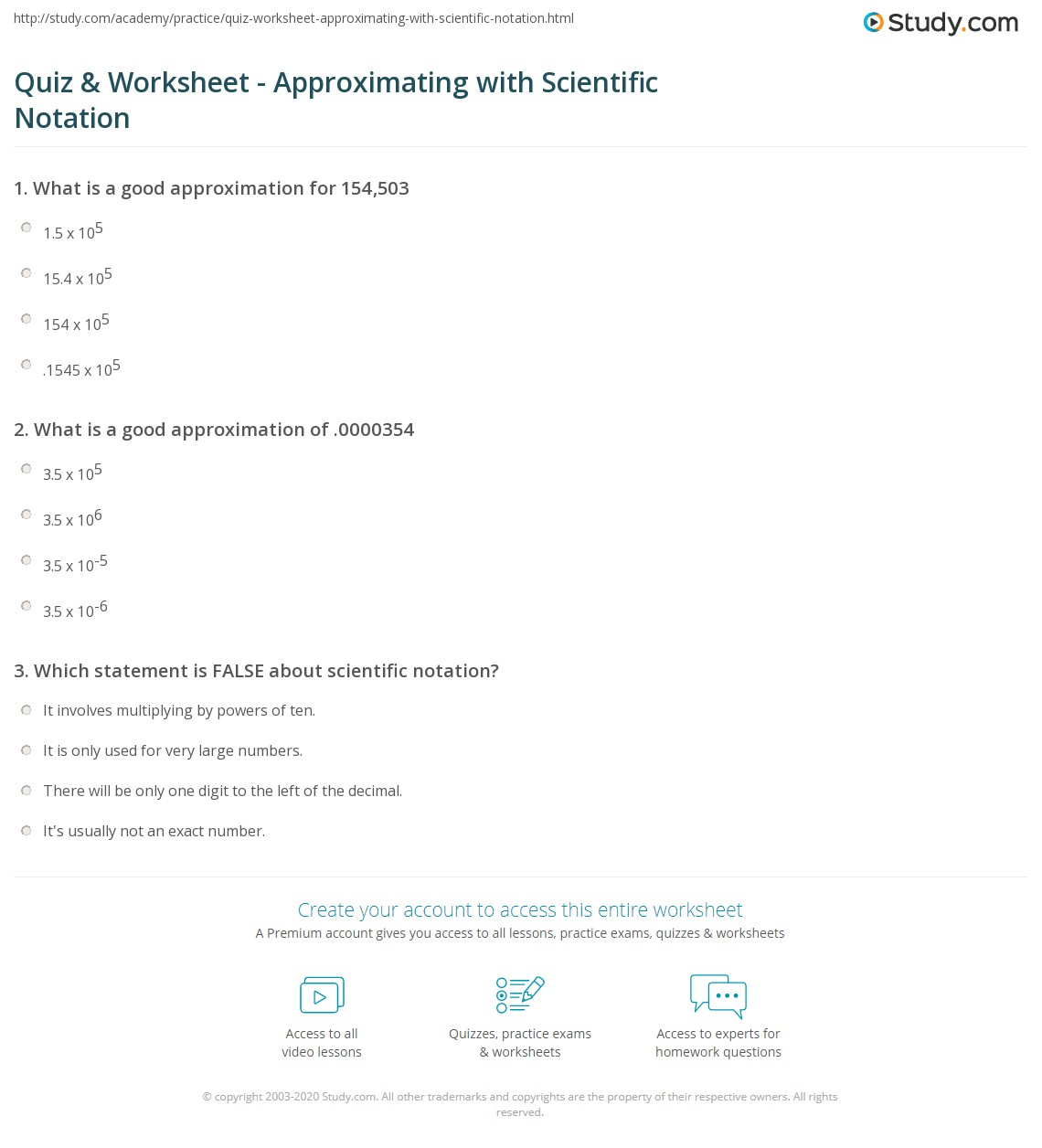 Quiz Worksheet Approximating With Scientific Notation Study Com
