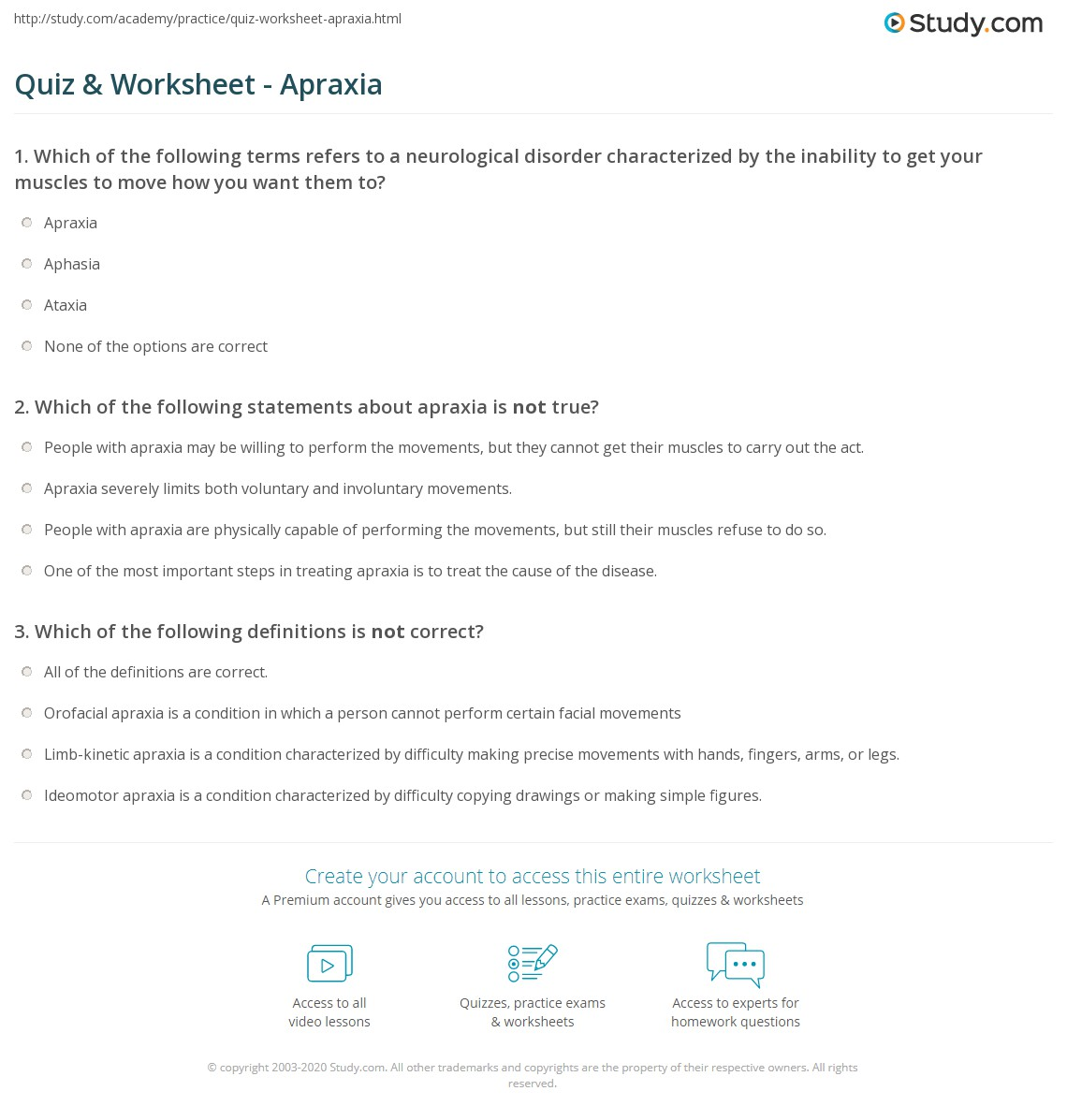 Quiz Worksheet Apraxia – Aphasia Worksheets
