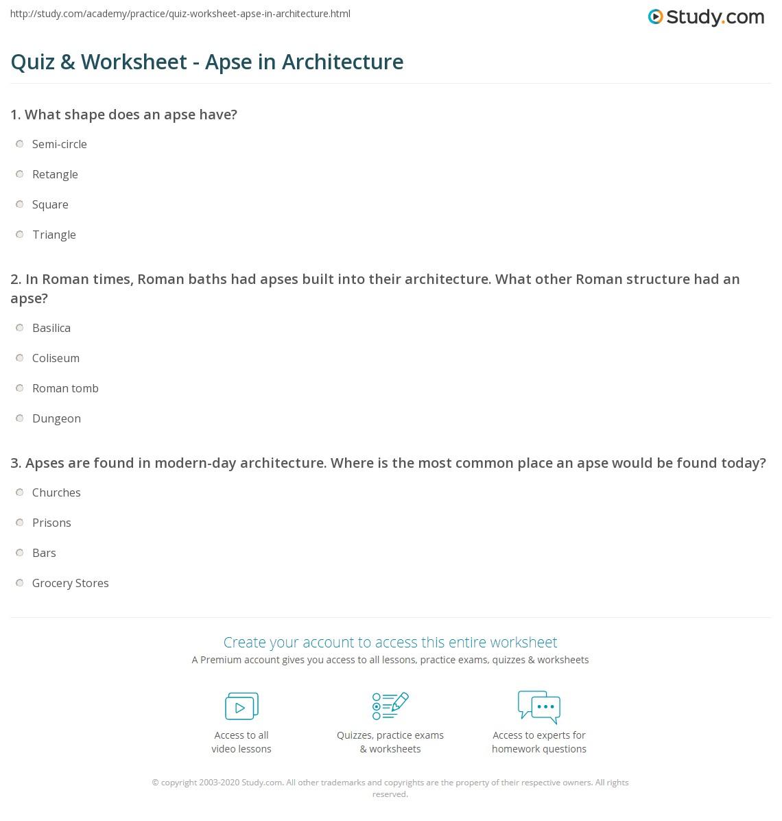 Quiz & Worksheet - Apse in Architecture   Study.com