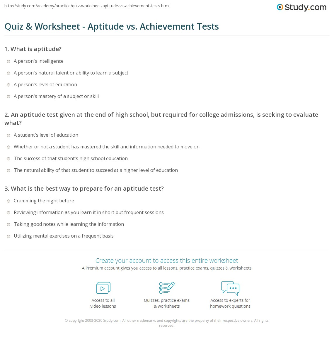 quiz worksheet aptitude vs achievement tests com an aptitude test given at the end of high school but required for college admissions is seeking to evaluate what