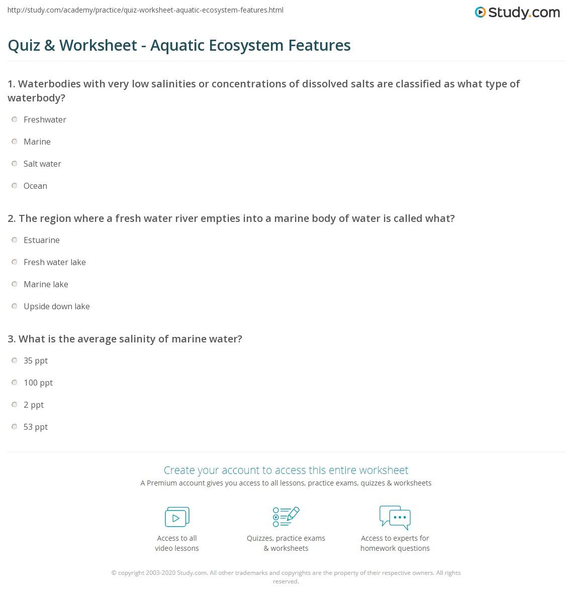 Aquatic Ecosystem Worksheet: Quiz & Worksheet   Aquatic Ecosystem Features   Study com,