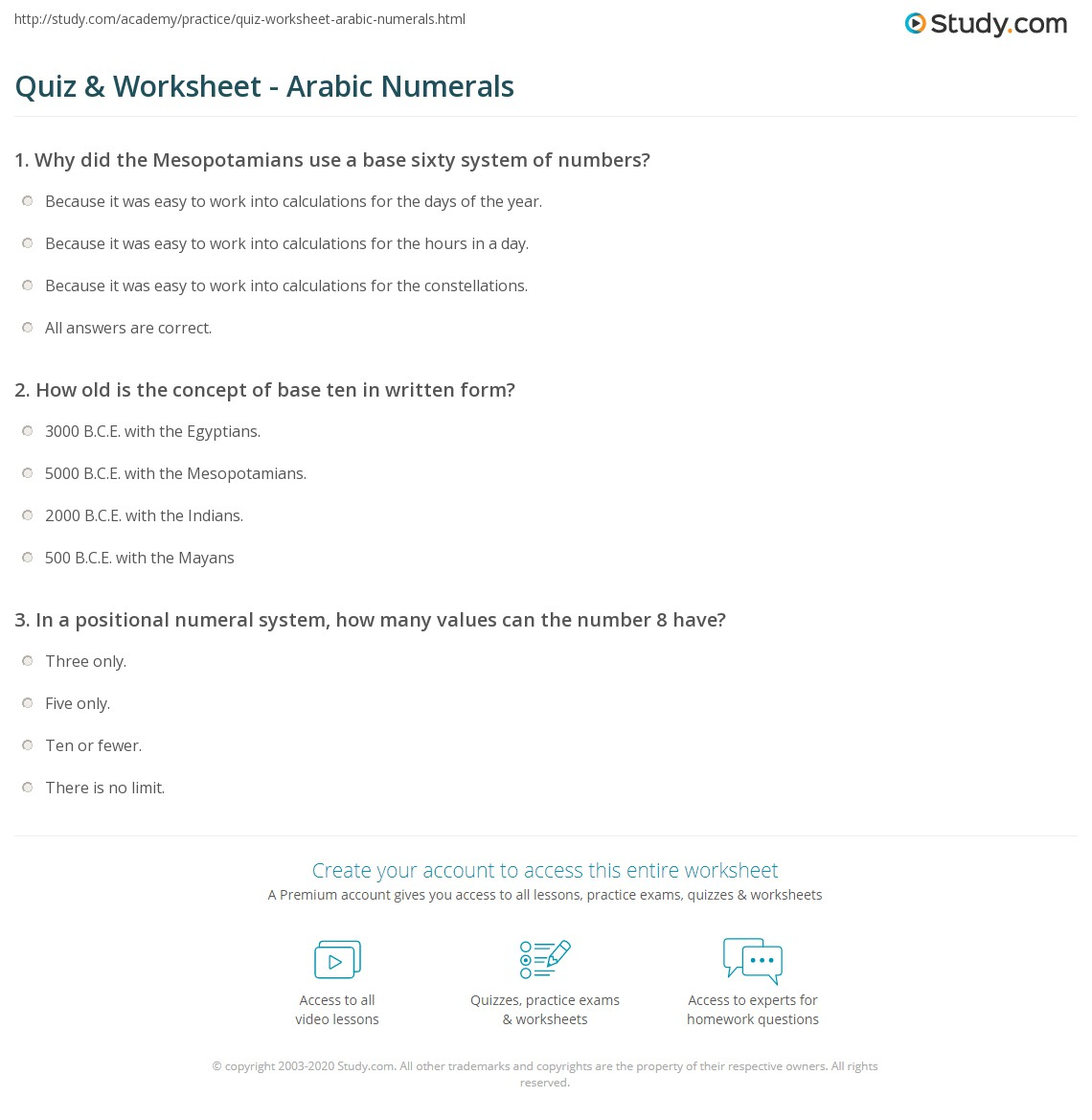 Quiz worksheet arabic numerals study print arabic numerals definition history example worksheet ibookread ePUb