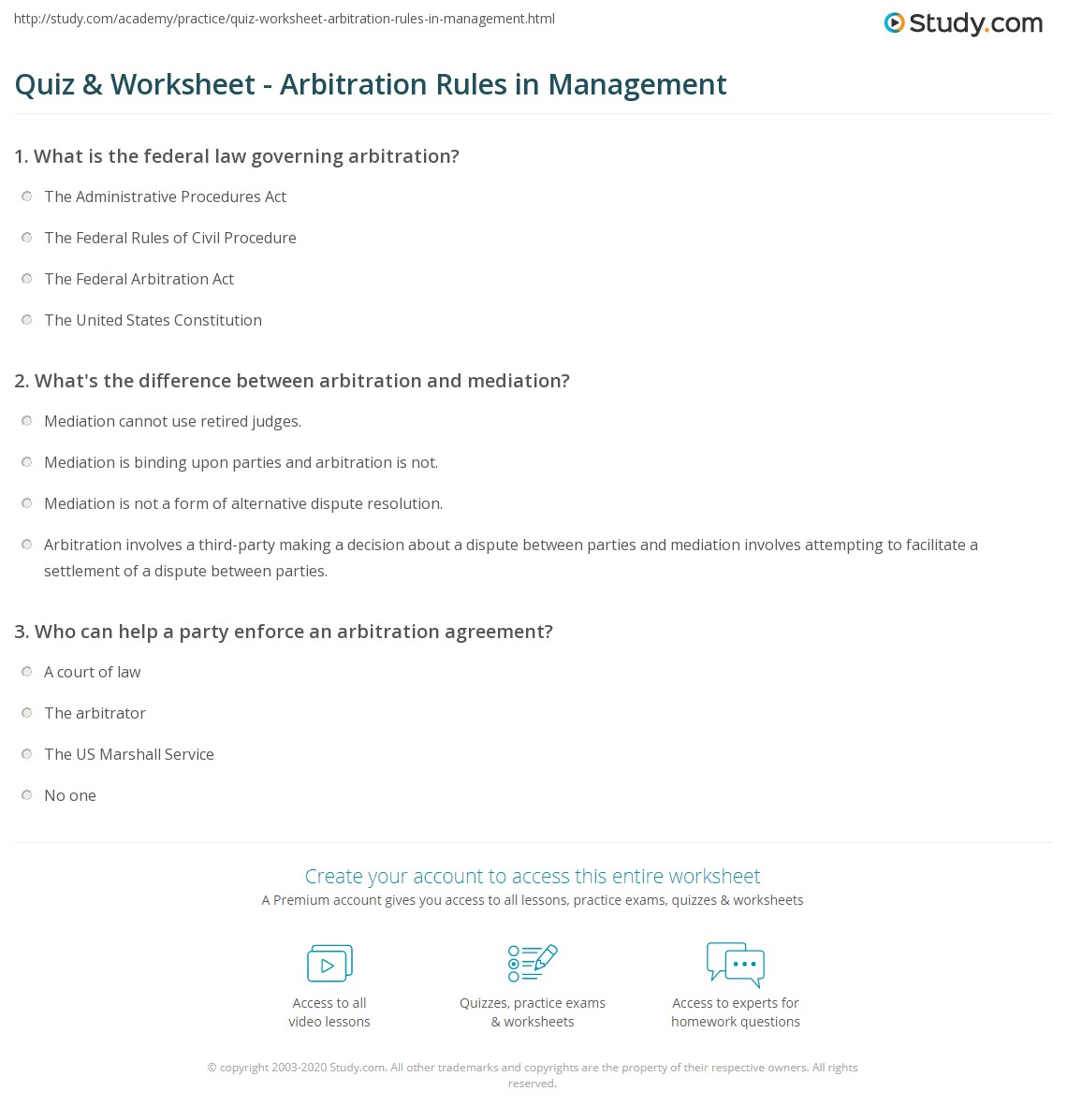 Quiz Worksheet Arbitration Rules In Management Study