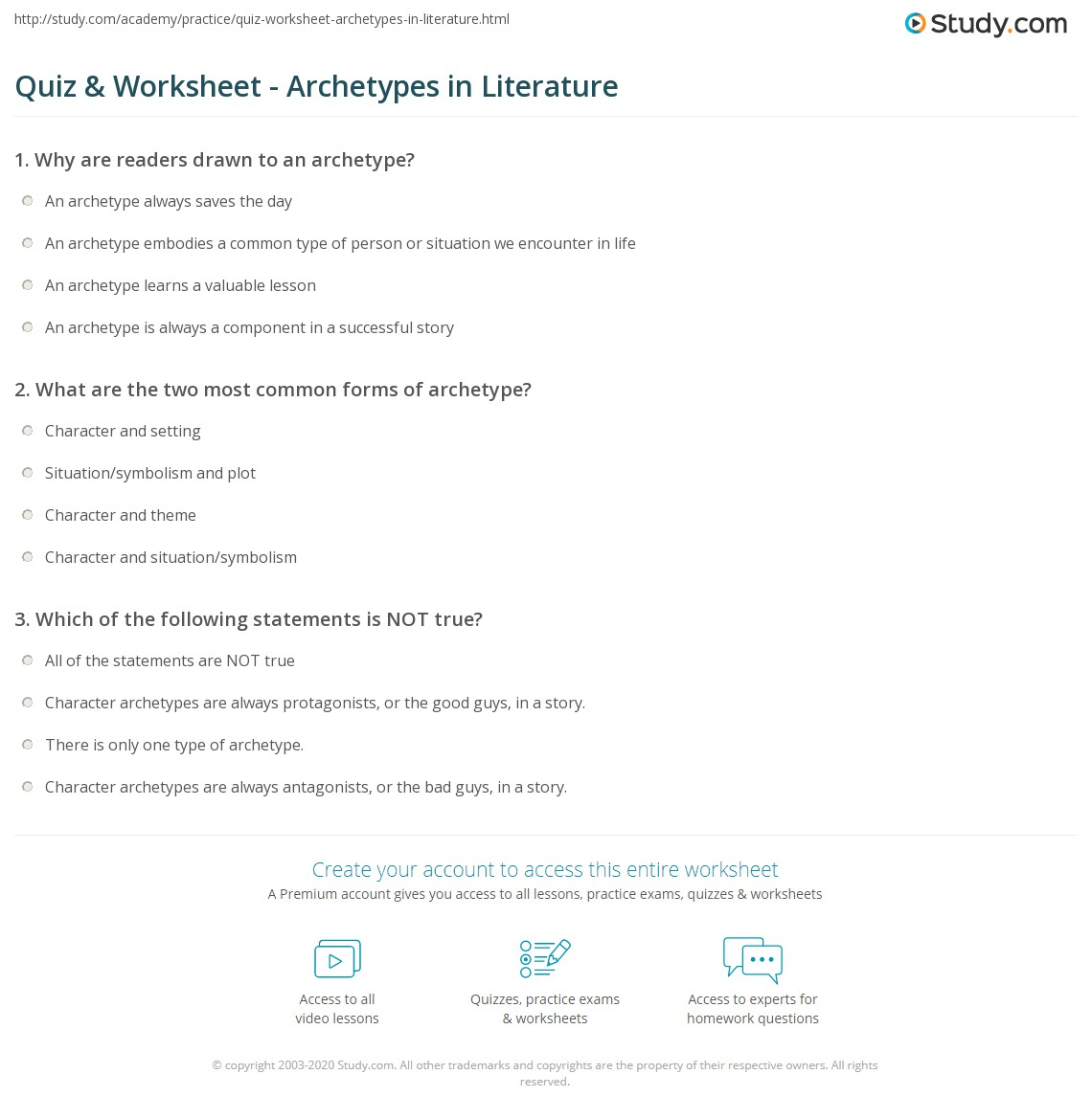quiz worksheet archetypes in literature. Black Bedroom Furniture Sets. Home Design Ideas