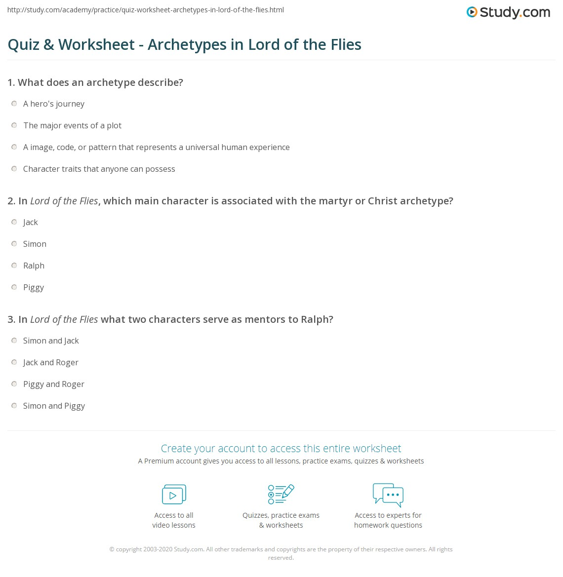 archetype analysis of lord of the Abstract the characters in lord of the flies possess recognizable symbolic significance, which make them as the sort of people around us ralph stands for .