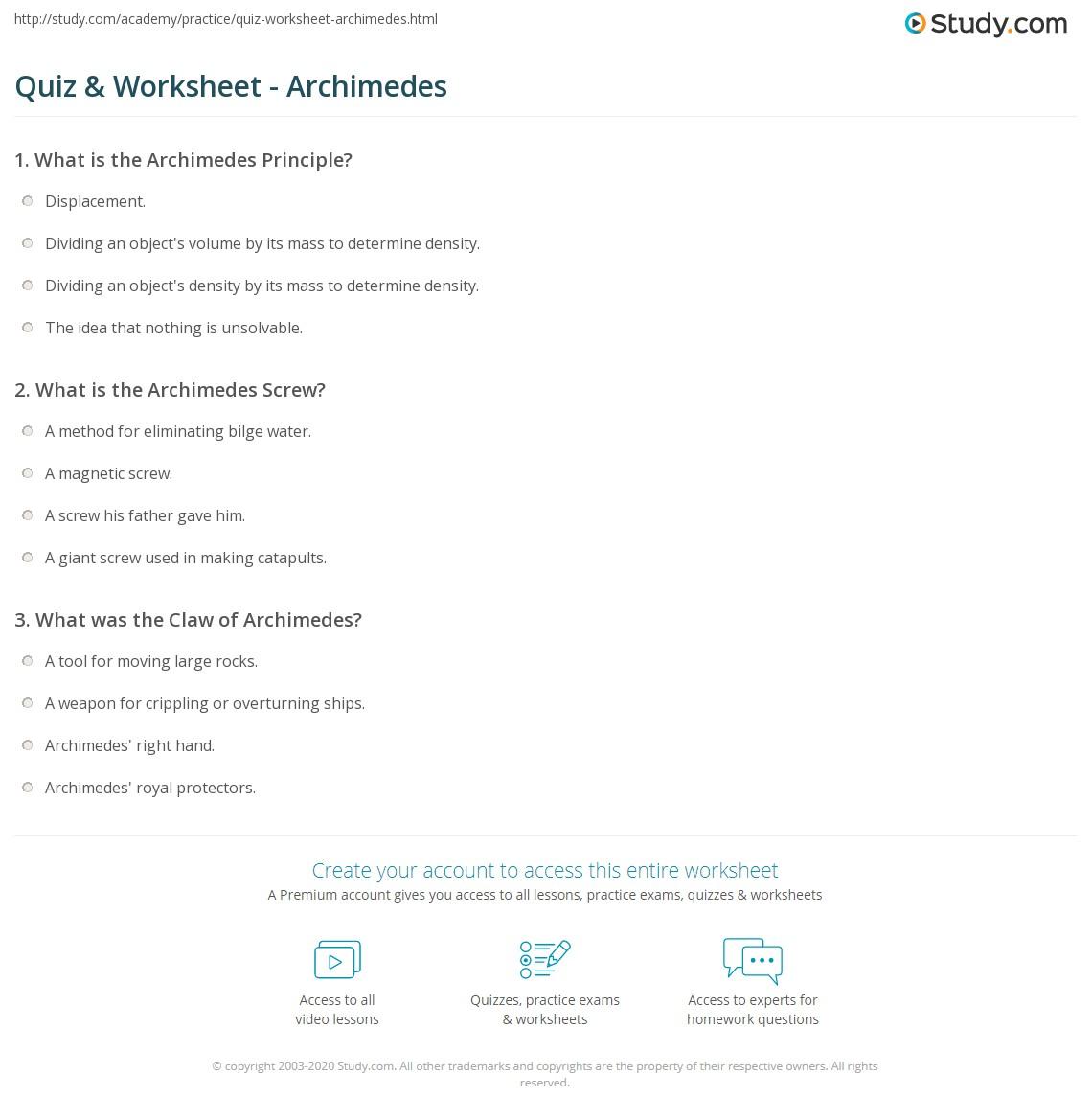 Quiz & Worksheet Archimedes