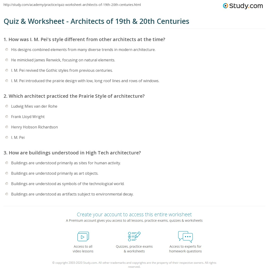 Quiz & Worksheet - Architects of 19th & 20th Centuries | Study.com