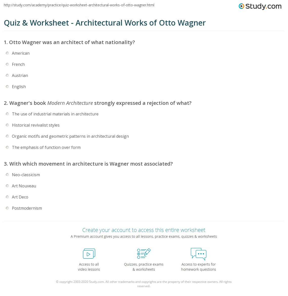 Quiz Worksheet Architectural Works Of Otto Wagner Study Com