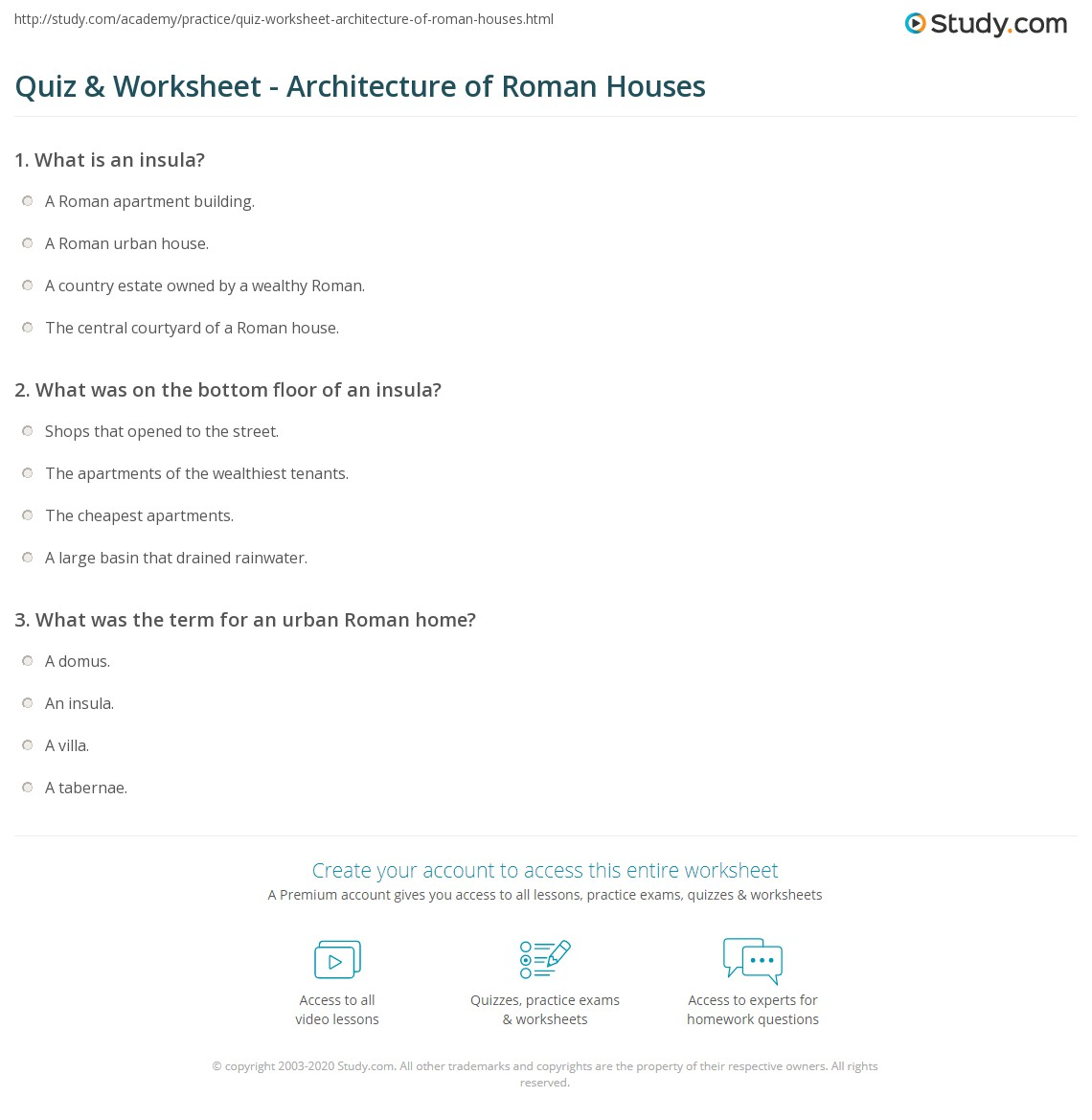 Quiz Worksheet Architecture Of Roman Houses Study