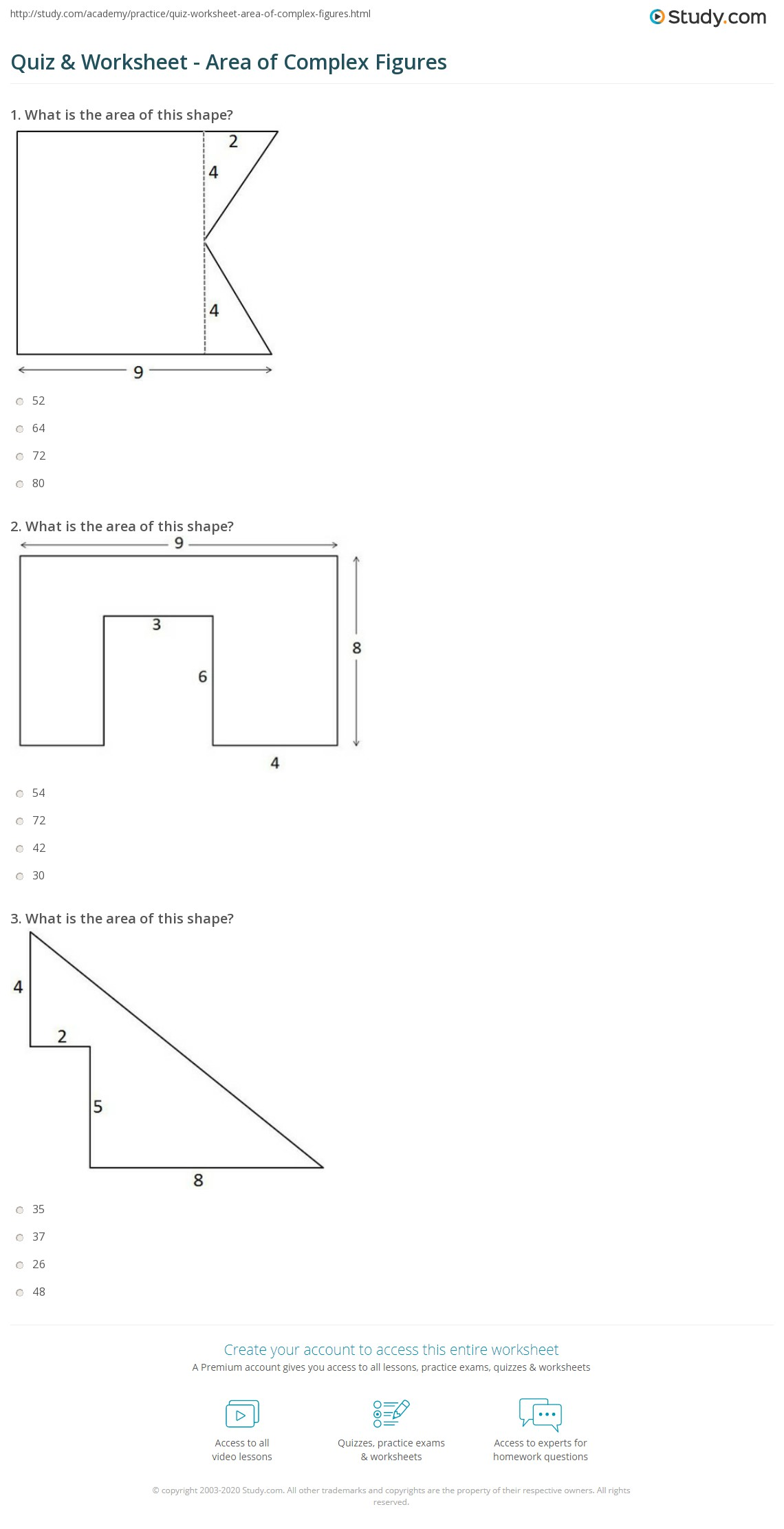 Quiz Worksheet Area Of Complex Figures Study