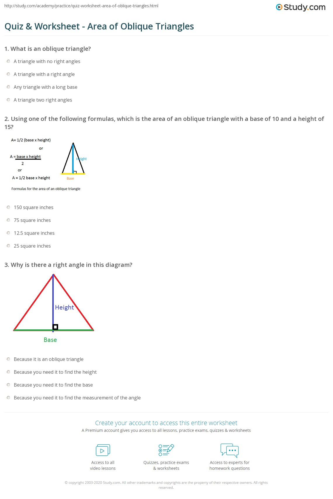 Print How To Find The Area Of An Oblique Triangle Worksheet