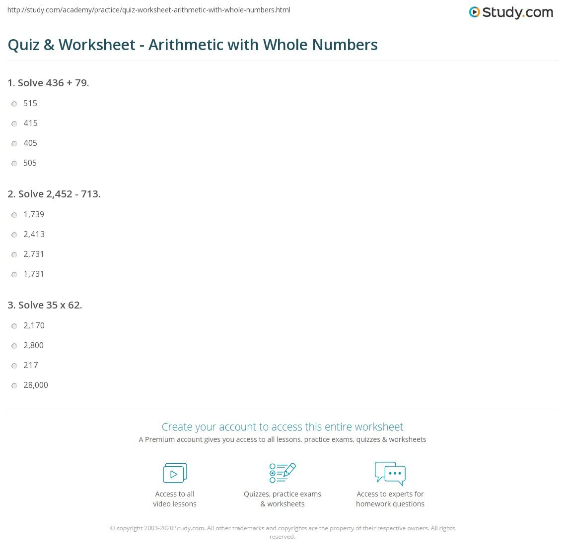 Quiz worksheet arithmetic with whole numbers study print arithmetic with whole numbers worksheet ibookread PDF