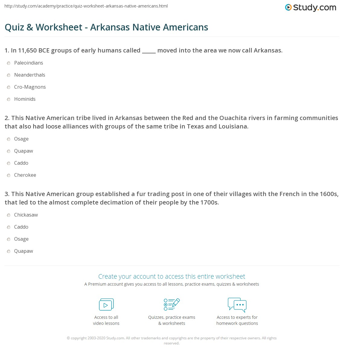 worksheet Native American Worksheets quiz worksheet arkansas native americans study com this american tribe lived in between the red and ouachita rivers farming communities that also had loose alliances with