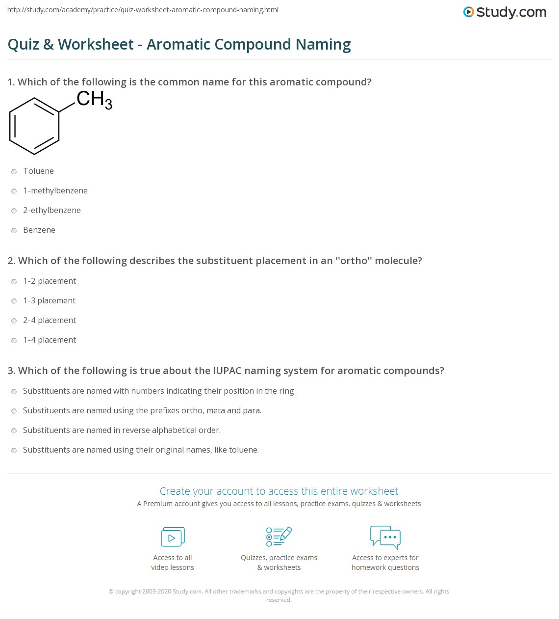 Quiz & Worksheet - Aromatic Compound Naming | Study com