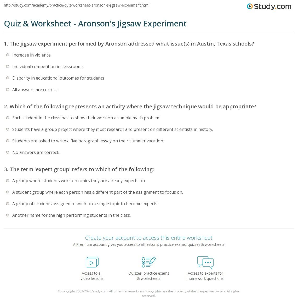 Quiz & Worksheet - Aronson's Jigsaw Experiment | Study.com