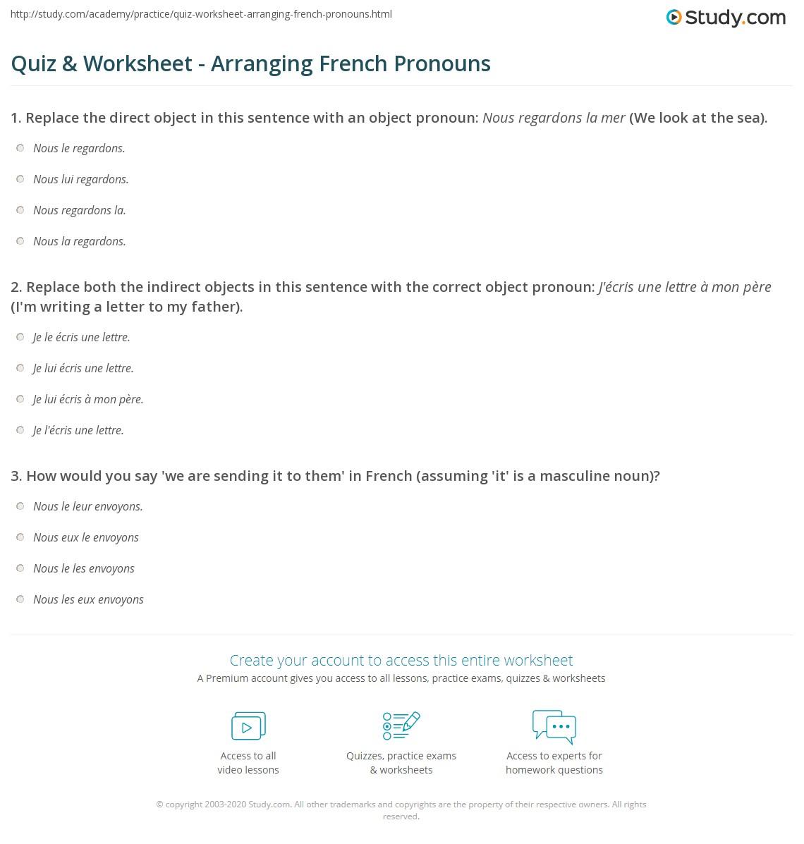 Quiz & Worksheet - Arranging French Pronouns   Study.com