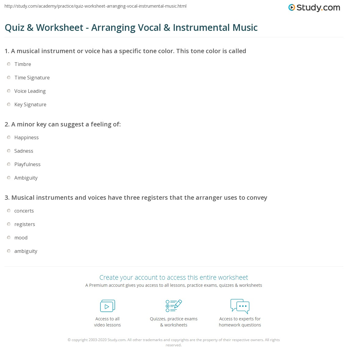 Quiz & Worksheet - Arranging Vocal & Instrumental Music ...