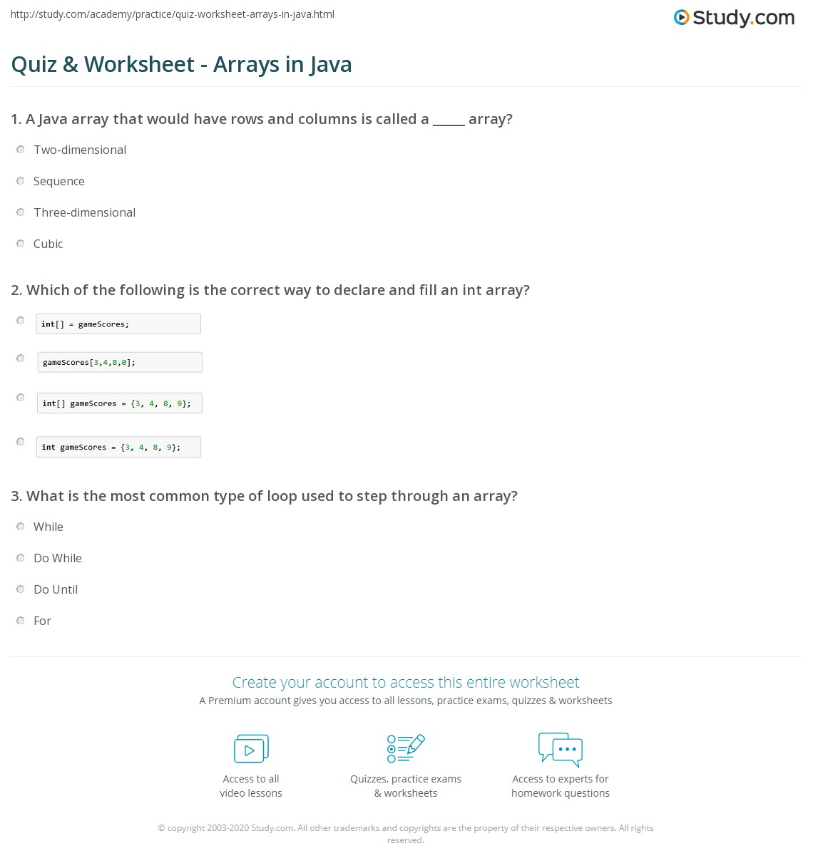 Quiz & Worksheet - Arrays in Java | Study.com