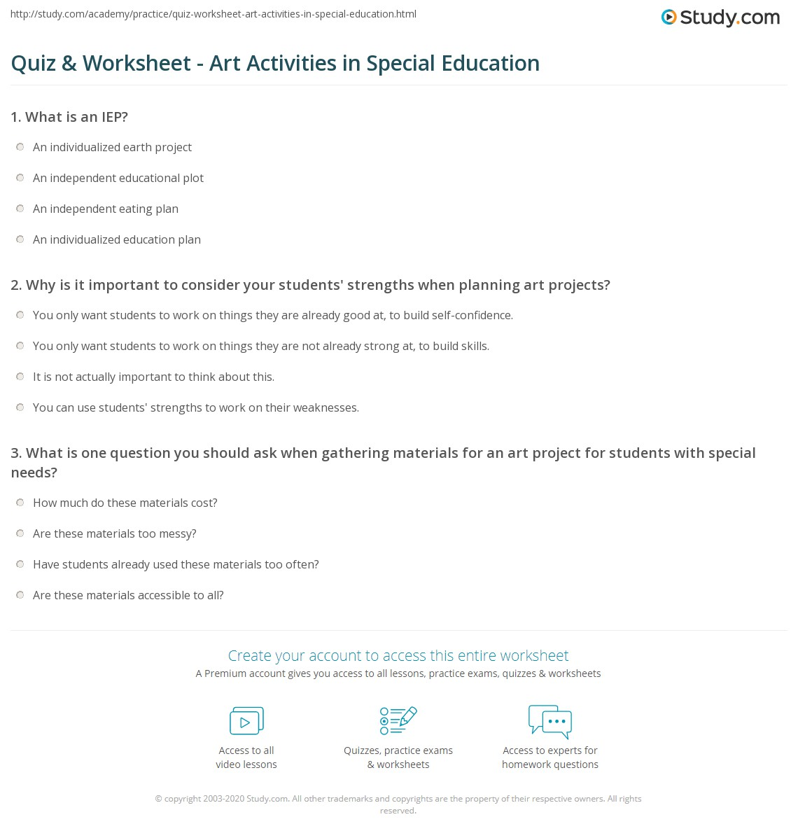 Worksheets Worksheets For Special Education Students quiz worksheet art activities in special education study com print developing projects for needs students worksheet